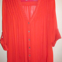 Red Sheer Button-Down Blouse