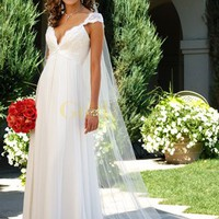 Cap Sleeves Empire Waist V-Neck Satin Chiffon Wedding Dress