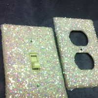 White Opal Glitter Switchplate / Outlet Cover Set of by ArtZodiac