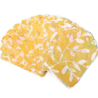 Set of 15 Gift Tags Yellow White Leaves