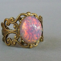 Antique Brass Adjustable Pink Opal Ring by pinkingedgedesigns