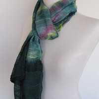 Green Batik Multicolor Silky Cotton Scarf, Christmas Gift, Infinity Scarf, Headband, Cowl, Loop Scarf