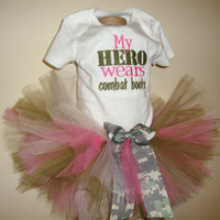 My Hero Wears Combat Boots Pink Army Tutu Outfit  by BesBowtique