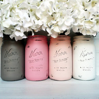 Valentine's Day Blush and Mocha SPRING Wedding Decor - Painted and Distressed Mason Jars - Centerpiece - Vase / Home Decor