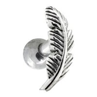 LEFT EAR - Nature Leaf Sterling Silver Cartilage Piercing Earring Stud: Jewelry: Amazon.com