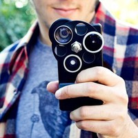 3 in 1 Dial Lens Wide Angle Fisheye Telephoto iPhone 4 / 4S Case Cover