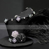 MINI TOP HATBlack Silver and Swarovski Crystal  by 3CityCreations