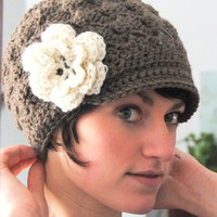 Adult Crochet Brimmed Beanie Hat with Flower You by maybematilda