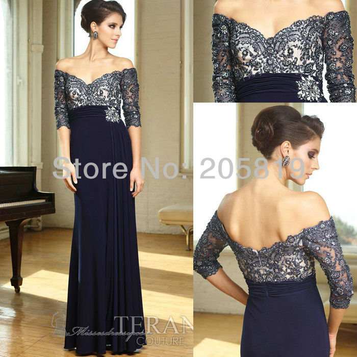 Aliexpress.com : Buy 2013 New Arrival  V Neck Dark Blue Beading Chiffon Evening Long Gown, M1160 from Reliable long evening dress suppliers on iWeddingDressesShop