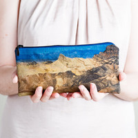 Zipper Pouch, Zabriskie Desert Nature Print. Fabric Pencil Case