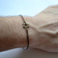 Star of David men's bracelet, bronze Magen David, brown bracelet for men, Bar Mitzvah gift, Jewish, Hebrew Jewelry from Israel, judaica