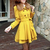 Yellow / Black / Pink wool women coat women dress coat with hair collar Apring Autumn Winter --CO069