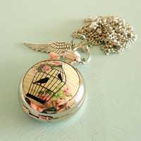 Sale - Shabby Chic Pink Romantic Birdcage Pocket Watch Necklace - Vintage Inspired, Antique Silver Wing Charm &amp; Czech Glass Flower