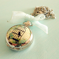 Sale - Shabby Chic Blue Romantic Birdcage Pocket Watch Necklace - Vintage Inspired, Antique Silver & Organza Ribbon