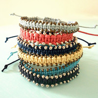 Sale - Made to Order - Custom Macrame Beaded Colorful Adjustable Bracelet - Spring &amp; Summer Cotton Cord Arm Candy in Silver or Brass