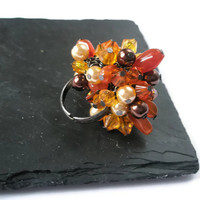 Cocktail Ring Statement cluster beaded Adjustable Carnelian Orange earth colours Orange Gold Pearls