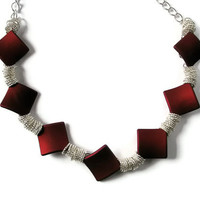 Statement Necklace Silver chunky chain Ruby Red Square shaped soft touch beads