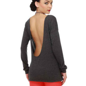 Lamixx Grey Sweater - Grey Top - Sweater Top - $46.00