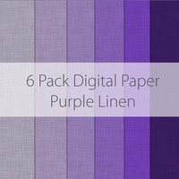 6 Pack Digital Scrapbooking Paper Purple Linen Textures