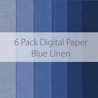 6 Pack Digital Scrapbooking Paper Blue Linen Textures