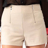 High-Waisted Double Zipper Shorts