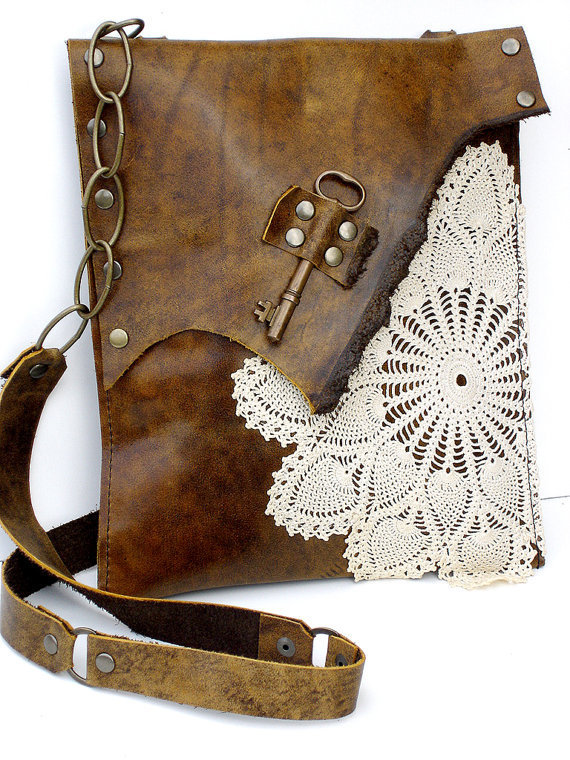 CUSTOM for LAUREN R  Boho Leather Messenger Bag by urbanheirlooms