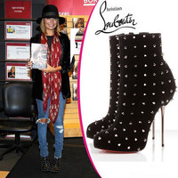 Christian Louboutin Miss Corset Lace-Up Ankle Boot - $218