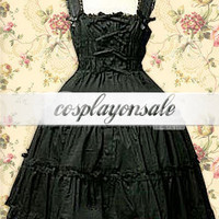 Cotton Black Front Ties Sleeveless Sweet Lolita Dress [T110791] - $73.00 : Cosplay, Cosplay Costumes, Lolita Dress, Sweet Lolita