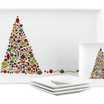 5-Piece Ornament Tree Platter with Plates Set in Christmas Entertaining | Crate&Barrel