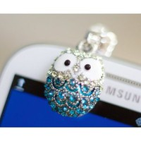 Smile Decor, Crystal Pendant, Owl, Earphone Jack Accessory, Dust Plug, Ear Hole Cap, Ear Jack For Samsung, iPhone, Cell Phone, iPad, iPod Touch, Christmas Gift