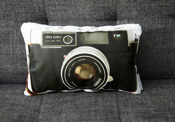 Vintage Amica Eyelux Camera Canvas Printed Pillow by intheseam