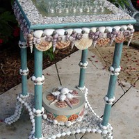 Seaside Fantasy Shelled Chess Game Table and by PinkPelicanDesigns