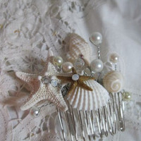 Seashell Hair Comb for Beach and Destination by iDoArtsyWeddings