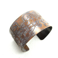 Music Staff Musical Notes Copper Etched Cuff Bracelet