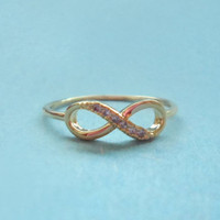 Infinity Ring, Cubic Zirconia, Gold, RIng