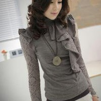 Graceful Hollow Out Lacework Girls Sweaters Gray_F/W Blouses_Wholesale - Wholesale Clothing, Wholesale Shoes, Bags, Jewelry, Wholesale Fashion Apparel & Accessories Online