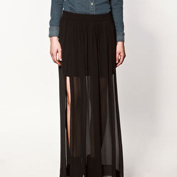 LONG SKIRT WITH SPLITS - Collection - Skirts - Collection - Woman - ZARA United States