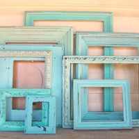 9 Shades of the Beach Distressed Picture Frames Sea Foam Green Robins Egg Blue