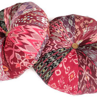 24 Ikat Poufs Set of 2 Pouf Pink Burgundy by ginette1223 on Etsy