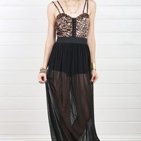 D20325 Black Sheer Leopard Maxi Dress and Shop Apparel at MakeMeChic.com