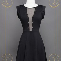 Black Mesh Insert Dress