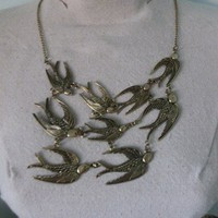 Bird Flock Necklace Brass