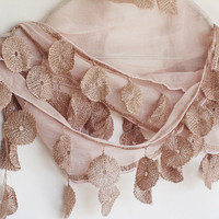 BISQUE Cotton Scarf With Lace by mediterraneanlights on Etsy