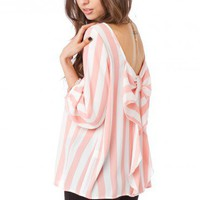 Coletta Bow Blouse in Striped Pink - ShopSosie.com