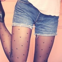 Hearts pattern Black Pantyhose / Tights from New Spirit Boutique