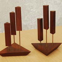 Danish Walnut Triangle Candle Holders