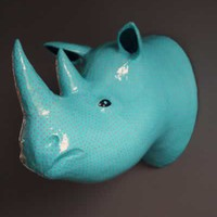 Rhinoceros Head Wall Hanging - Blue