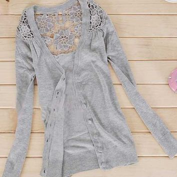 Womens Girl's Fashion Floral Hollow #G Thin Knitting Cardigan Sweater Top