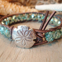 Beachy leather wrap bracelet SandDollar sky blue by slashKnots