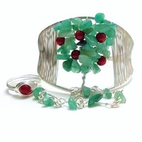 Apple Tree of Life Slave Bracelet Ring Green Aventurine Red Coral